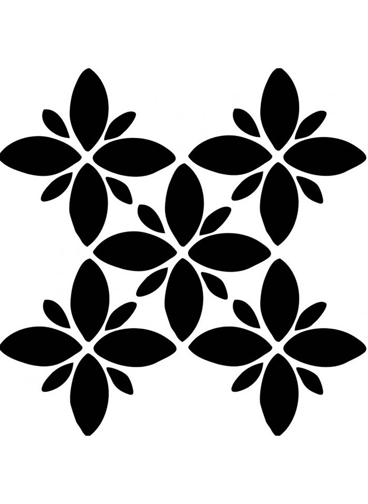 Artikel Standart Dort Yaprakli Cicek Karo Stencil Tasarimi 30 X 30